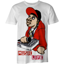 Music Life T-Shirt Graffiti Art2 (White)
